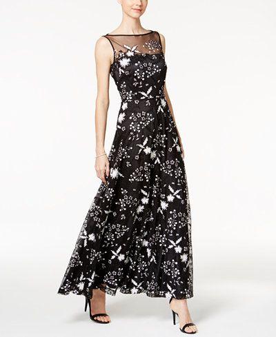 68dbb31f3772 Tahari ASL Sequined Flower Illusion Gown | Fashion Forward | White ...