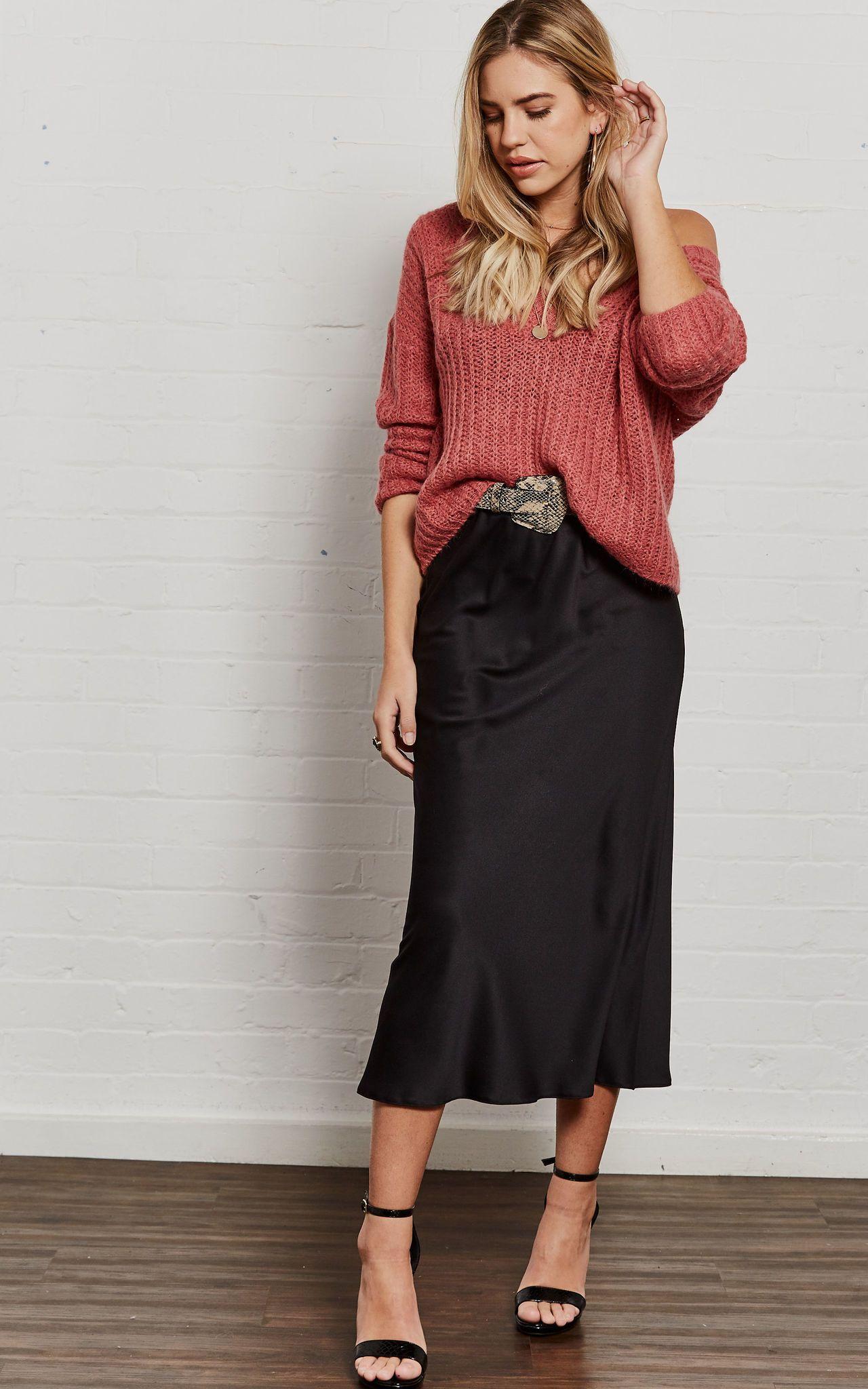 c3b9a67eafb Silk Slip Skirt midi black Silk outfit Silky style ideas street style  fashion fall trends look beliano