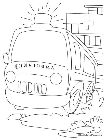 A ready ambulance in front of hospital coloring page