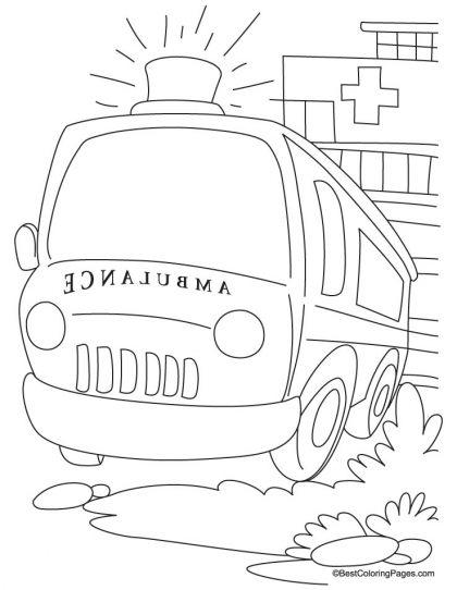 A Ready Ambulance In Front Of Hospital Coloring Page Download Free A Ready Ambulance In Front Of Hospital Co Coloring Pages For Kids Coloring Pages Ambulance