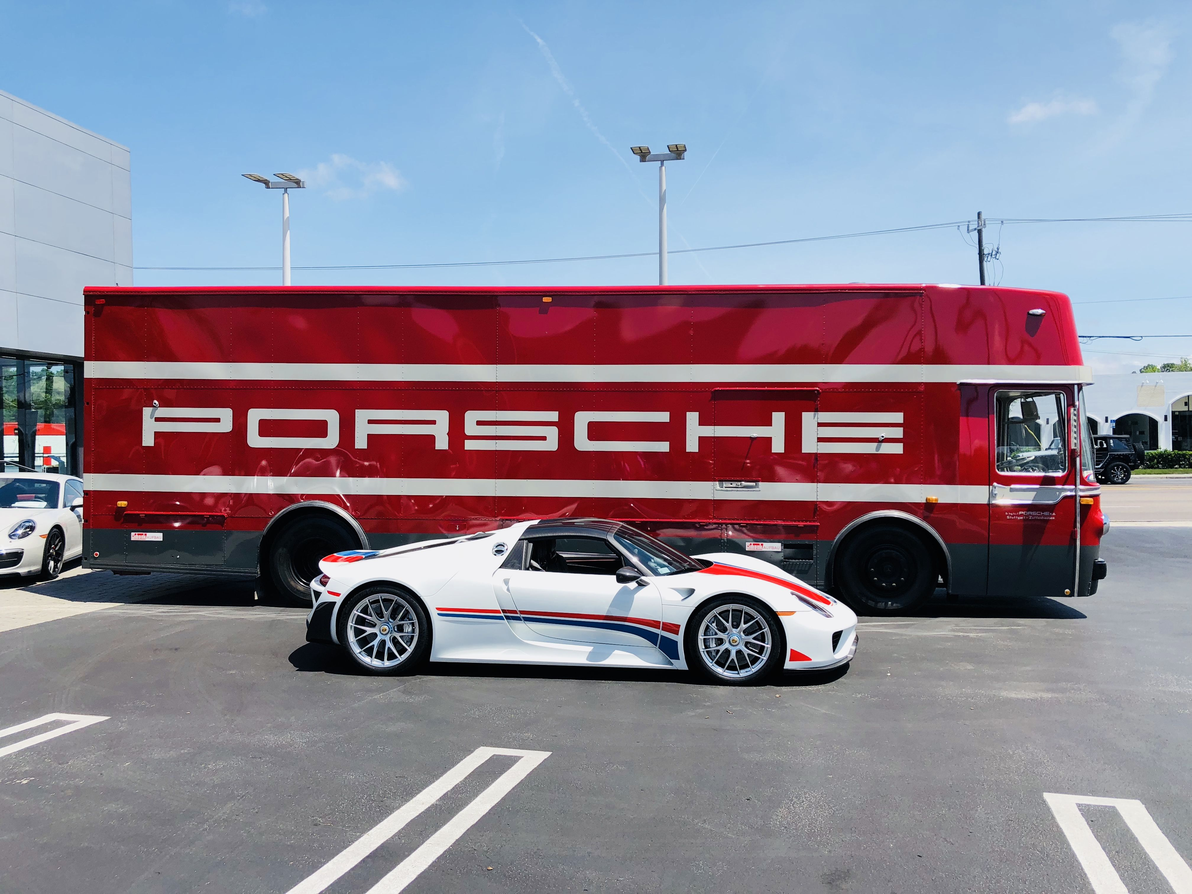 The Porsche Factoryteam Race Transporter Came By Today For An Unexpected Visit The Transporter Is A 1968 Mercedes That Race Cars Race Track Special Events