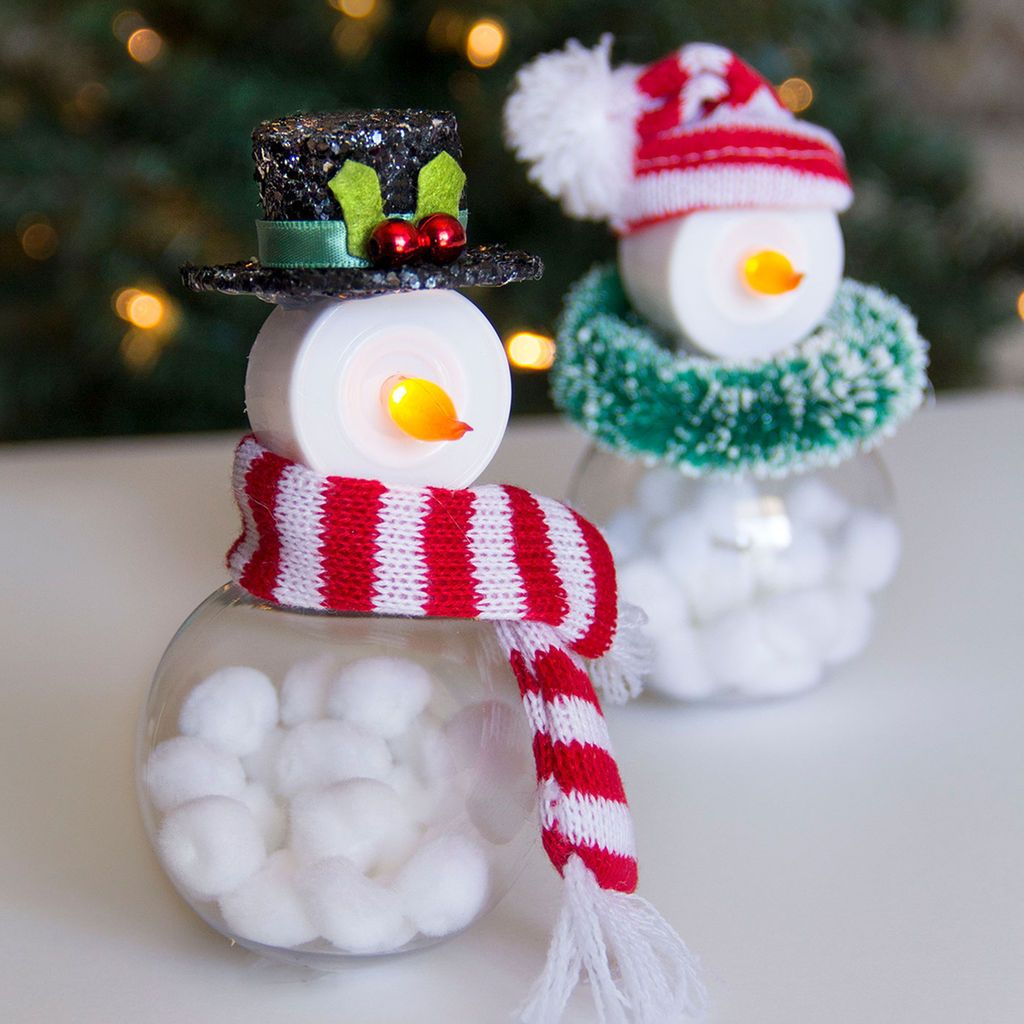 Easy DIY Tea Light Snowmen Tea light snowman, Christmas