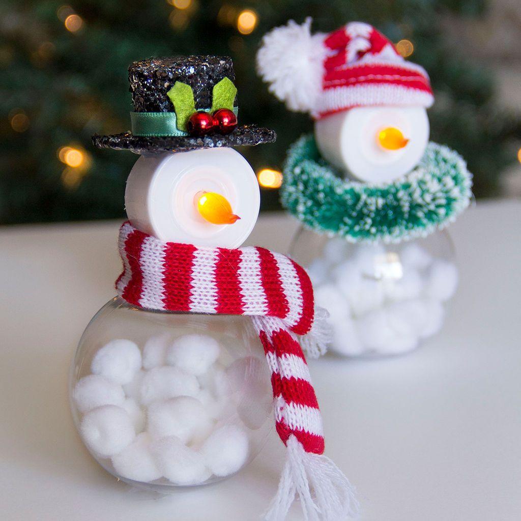 Easy Diy Tea Light Snowmen Christmas Crafts Xmas Crafts Tea Light Snowman