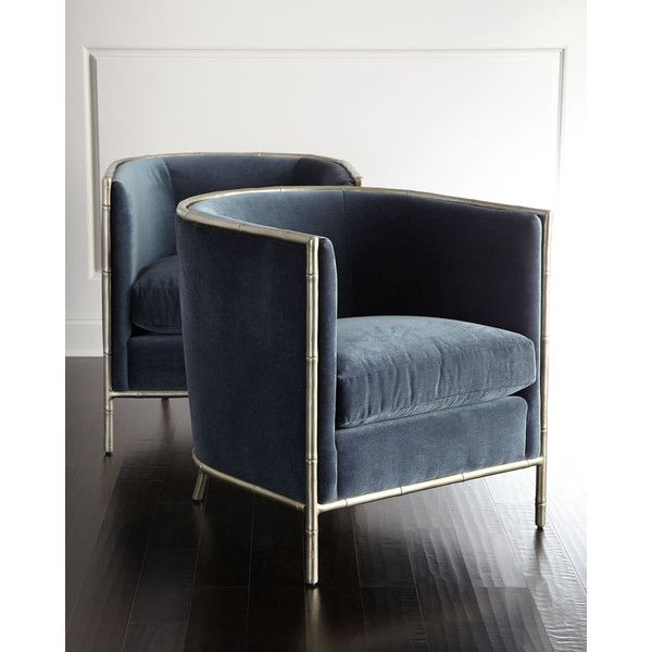 Bernhardt Luella Blue Velvet Chair ($1,799) ❤ liked on Polyvore featuring home, furniture, chairs, blue, bernhardt furniture, blue velvet furniture, bernhardt, blue chair and velvet chair