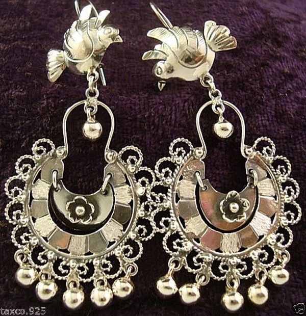e0d9ec74aa81 FRIDA KAHLO DESIGN TAXCO MEXICAN STERLING SILVER BIRD EARRINGS MEXICO