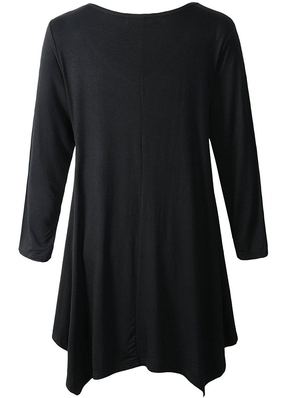 258187ff50b Women Plus Size 3/4 Sleeve Tunic Tops Loose Basic Shirt - Black ...