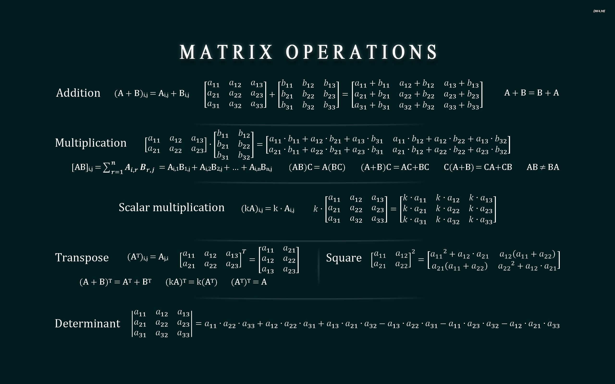 All The Operations Of Matrices Cheat Sheet Matrices Math Cheat Sheets Matrix