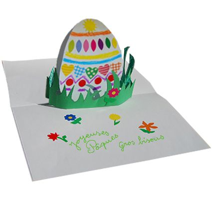 Carte pop up oeuf de p ques t te modeler p ques printemps et bricolage - Carte pop up facile ...