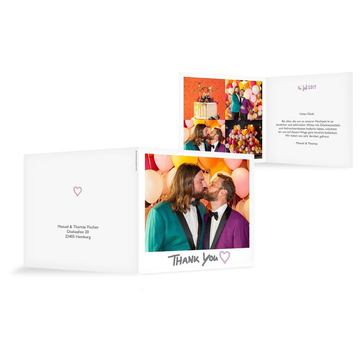 """Dankeskarte Hochzeit """"Retro Print"""""""