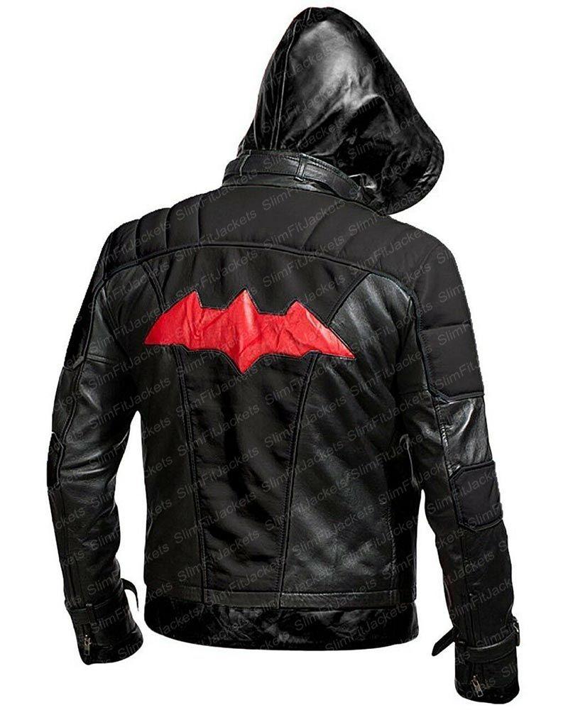 Batman Arkham Knight Black Leather Jacket Leather Jacket With Hood Leather Jacket Style Arkham Knight [ 1000 x 800 Pixel ]