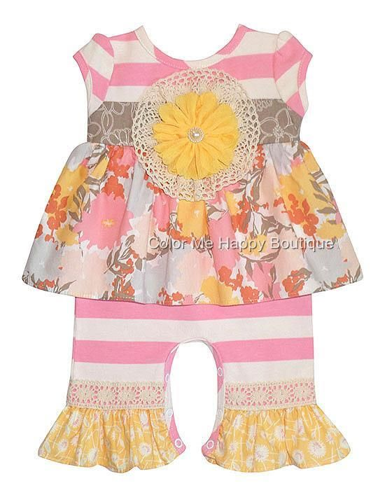 bd19a518d Peaches n Cream Sweet Nothings Pink Yellow Stripe Romper (sz.0-9m) - Color  Me Happy Boutique