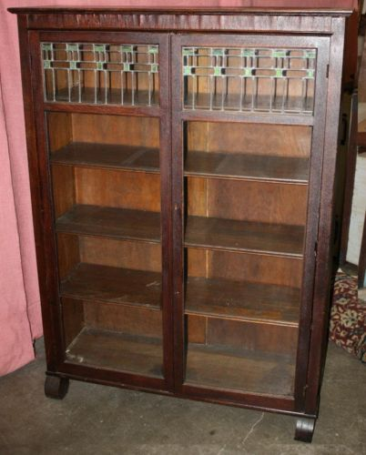 Antique Mission Arts Crafts Style Bookcase W Leaded Gl Larkin