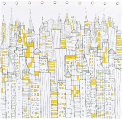 Cb2 Cityscape Shower Curtain City Sketch Pattern Wallpaper Cityscape