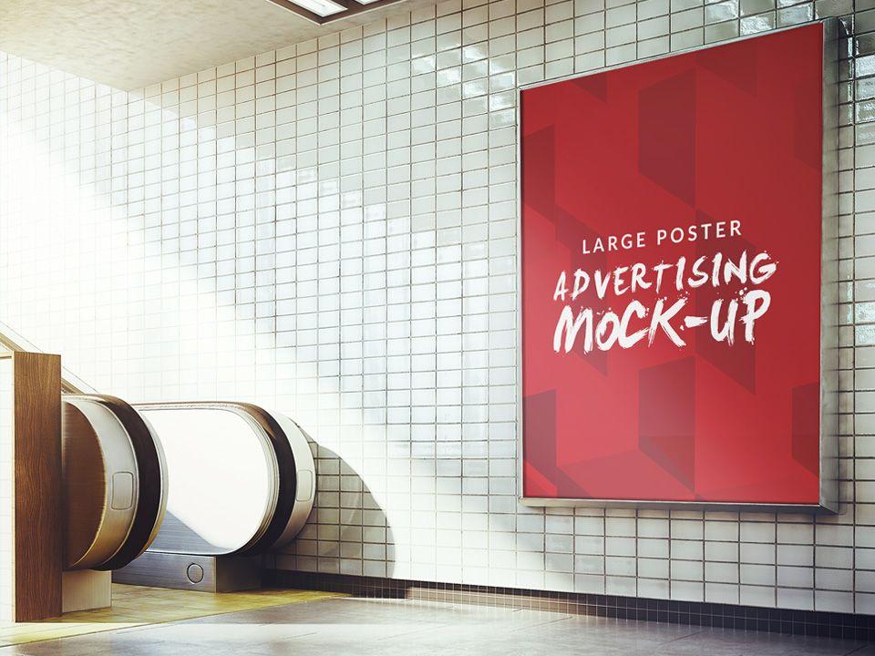 Download Free Subway Advertising Sign Board Poster Mockup Photo Realistic Mockup Showing A Billboard In A Sub Poster Mockup Advertising Signs Billboard Design
