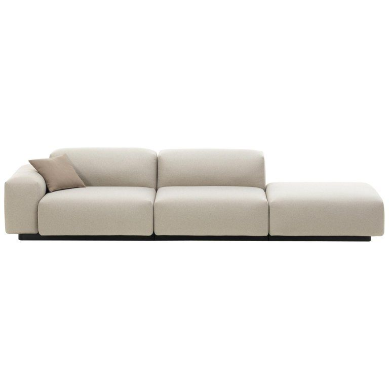 Vitra Soft Modular Three Seat Sofa With Platform Right In Pearl