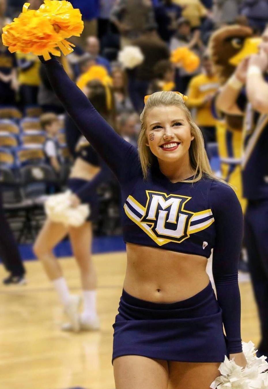 See More Marquette Cheerleaders Here Cheerleading Cheerleader Girl Cheerleading Dance