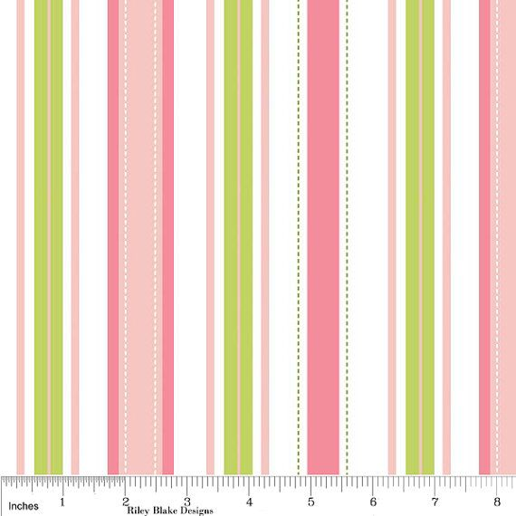 Pink And Green Stripe Fabric Sugar E For Riley Blake Stripes Print In
