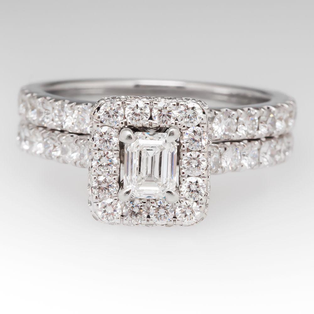 Neil+Lane+Diamond+Halo+Wedding+Ring+Set+14K+White+Gold