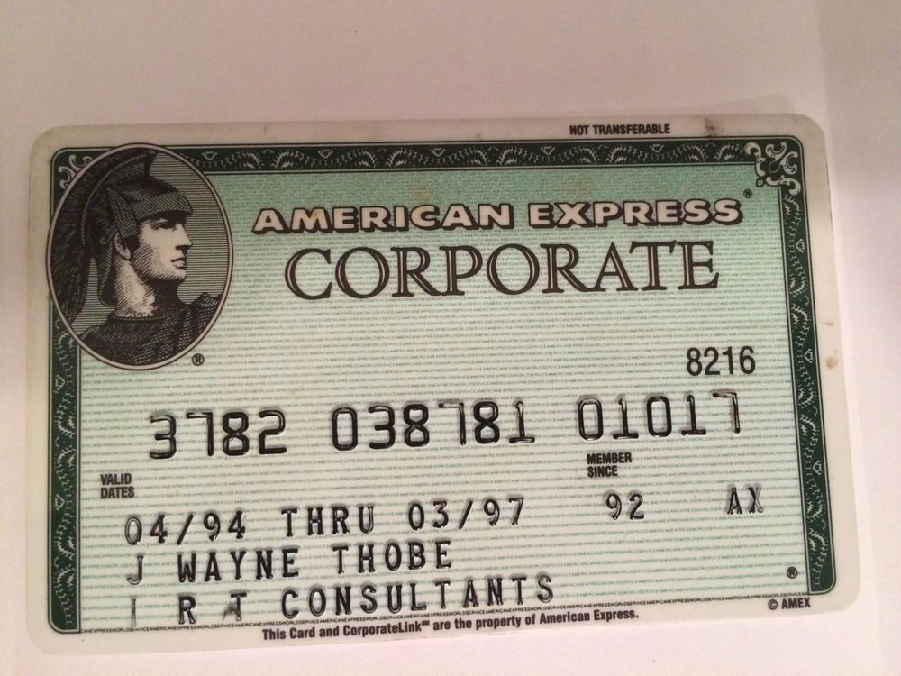 American Express Usa >> Vintage American Express Corporate Card Usa Exp 03 97