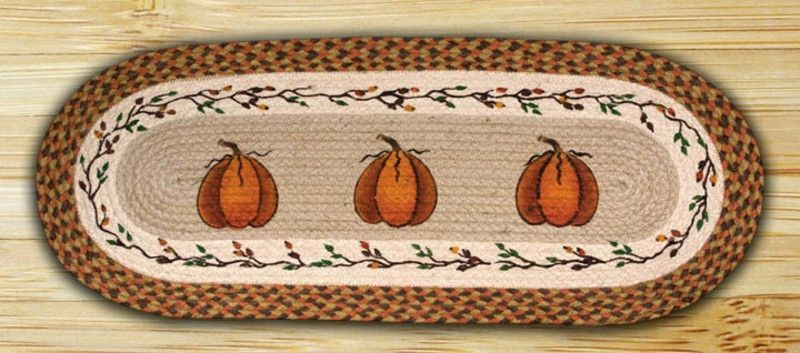 Harvest Pumpkin Oval Braided Jute Table Runner