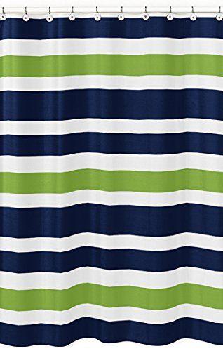 Navy Blue Lime Green And White Kids Bathroom Fabric Bath