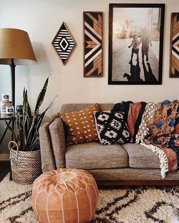 Leather Moroccan Pouf - Tan images