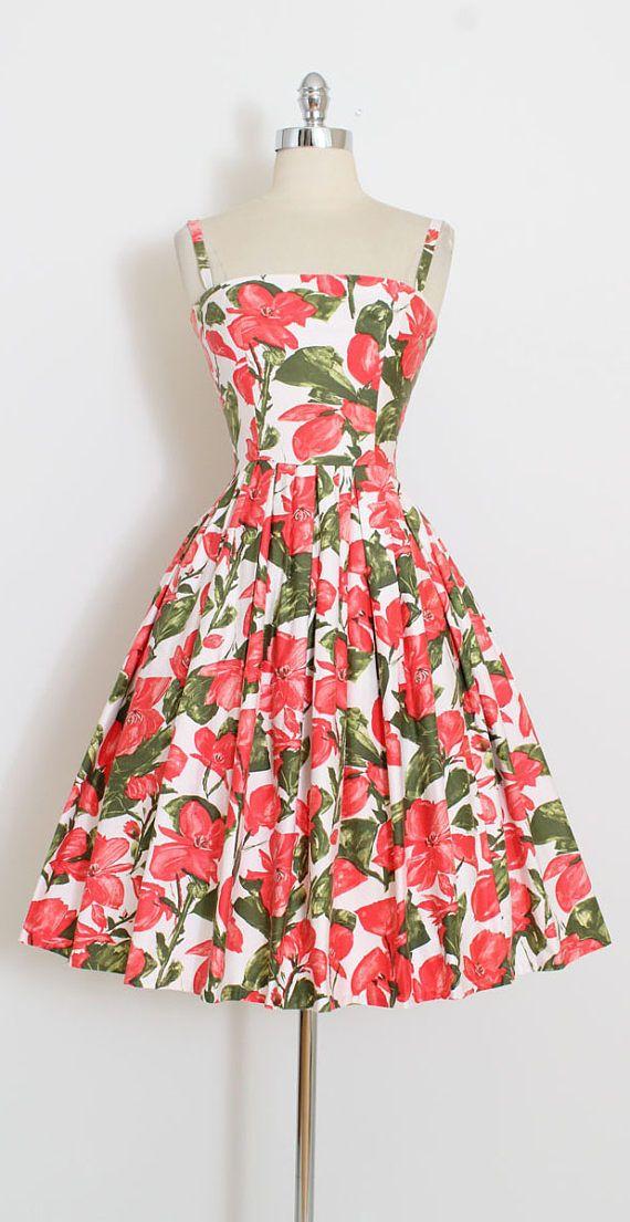 Vintage 50s Dress | 1950s red poppy print dress | polished cotton ...