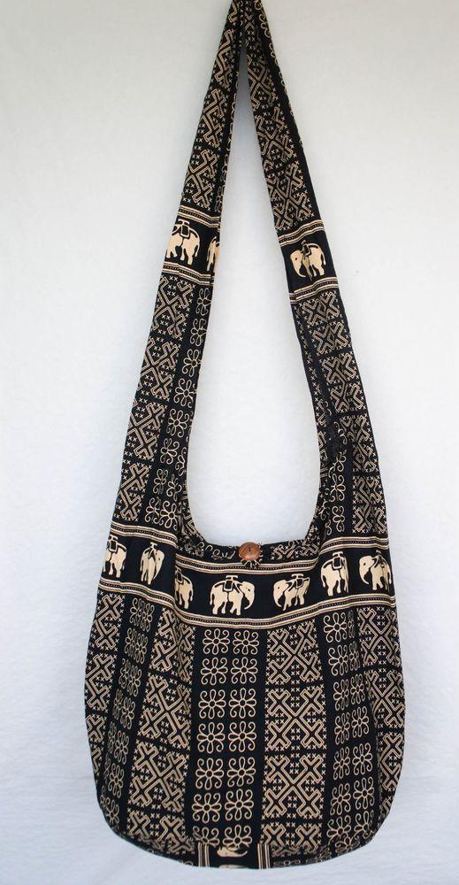 Black Egypt Elephant Hobo Bag Yaam Sling Purse Shoulder Hippie