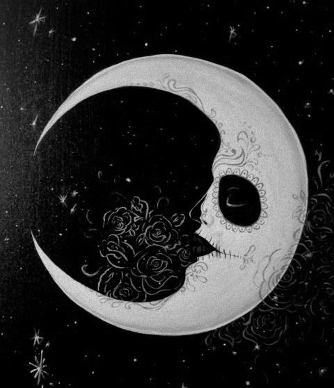 Black And White Sky Moon Sugar Skull Day Of The Dead