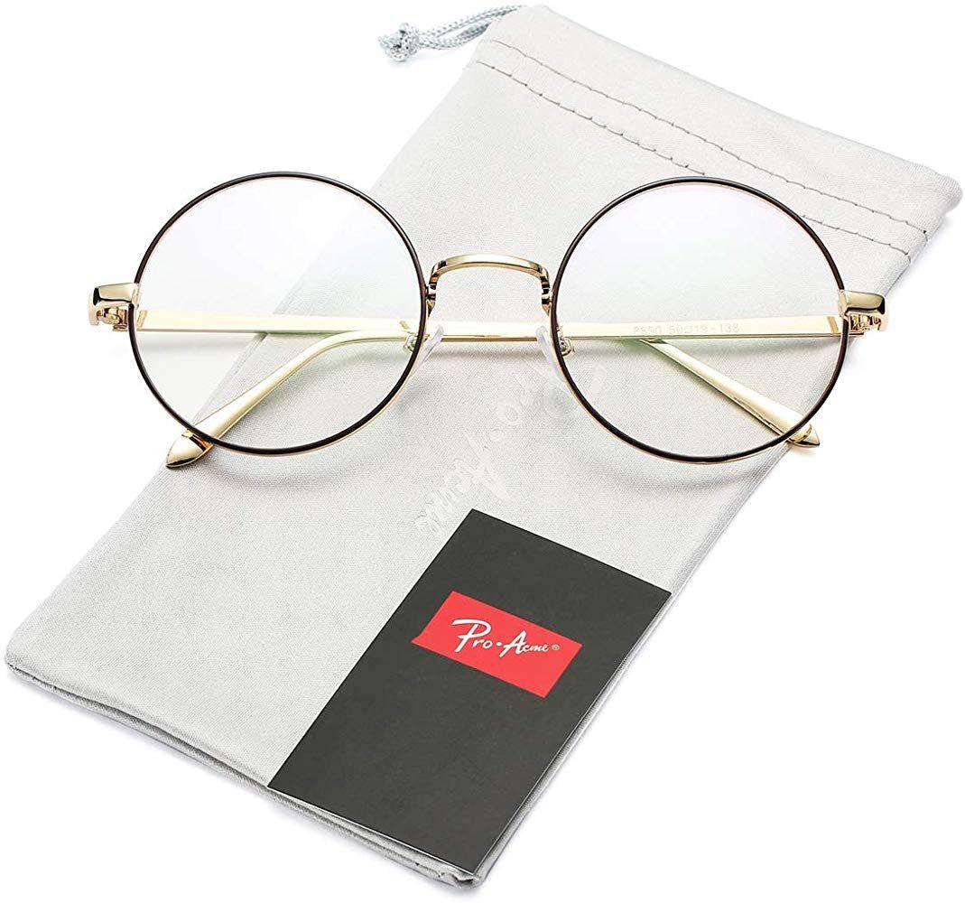 Pro Acme Retro Round Metal Frame Clear Lens Glasses Non