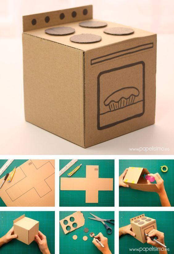 Cocina-de-carton-Cardboard-Kitchen decoraciondecocinasmanualidades - MyKingList.... Cocina-de-carton #miniaturekitchen