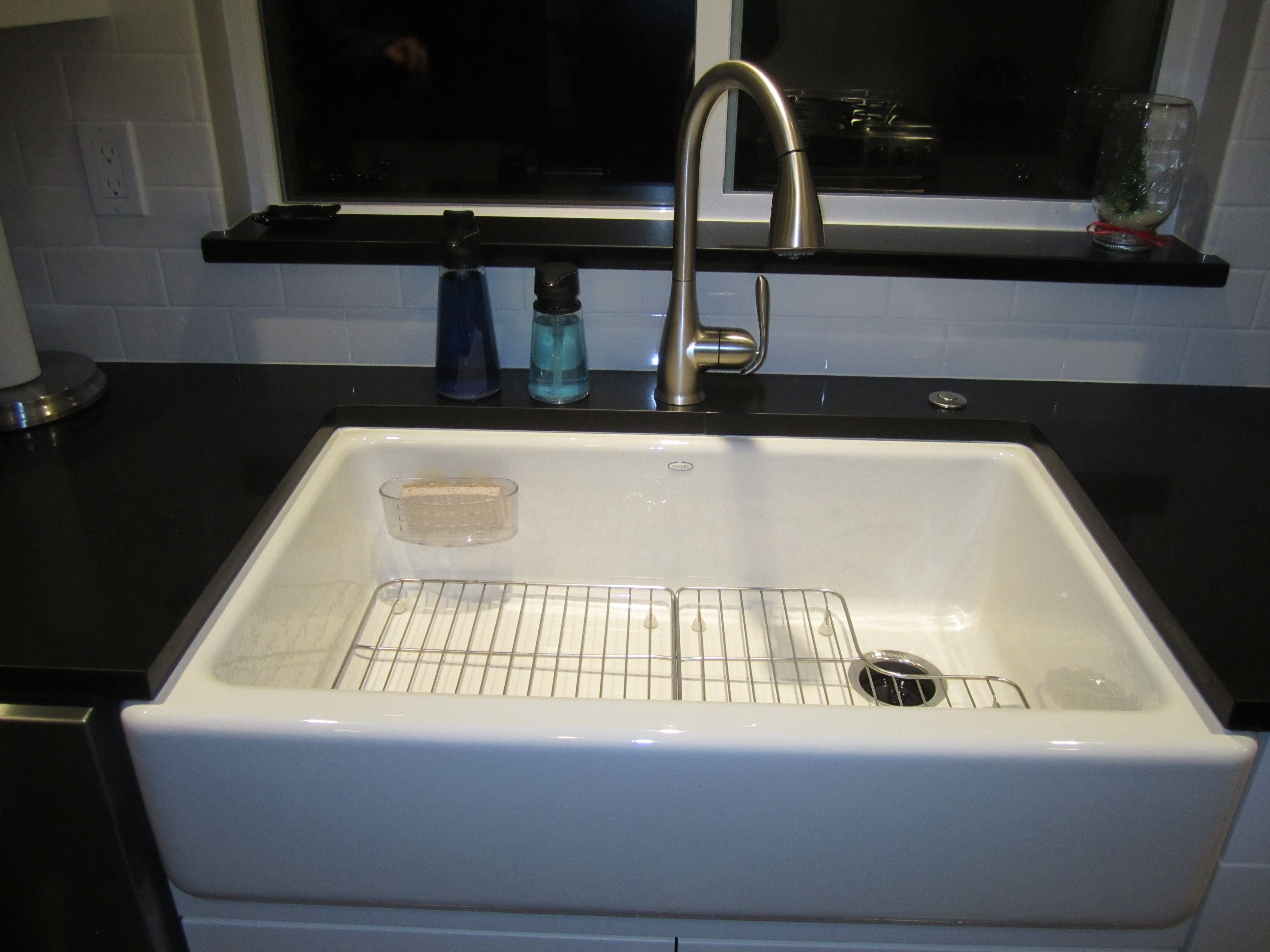 "My huge 36"" Kohler farm sink.  I added the racks later.  They are a must have!  The faucet is a Moen Haysfield from Home Depot.  Love!!I"