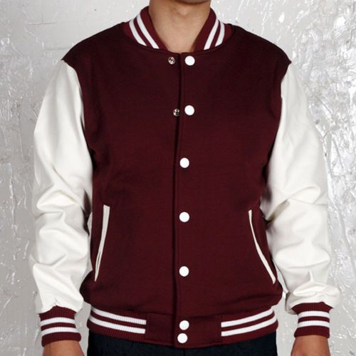 NWT Varsity Letterman College Baseball COTTON & LEATHER JACKET ...