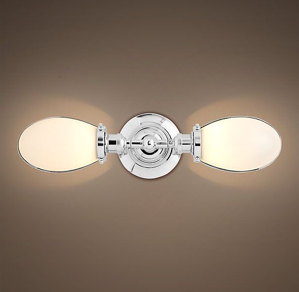 RH   Vintage English Oval Double Sconce   Polished Chrome   $179 Bathrooms