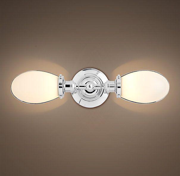 RH Vintage English Oval Double Sconce Polished Chrome - Vintage chrome bathroom lighting