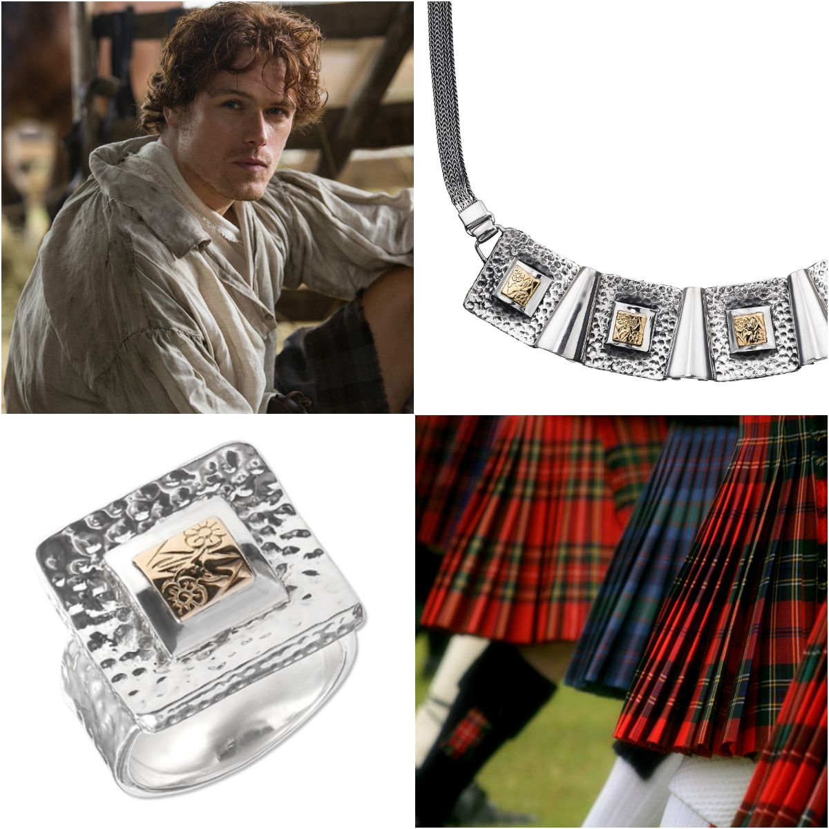 Shape of Gloria jewelry collection plays with highly popular today checked pattern, while Outlander TV show made many women go crazy about Jamie Fraser. So, Scottish style is in the trend as ever. The look of a brave highlander's faithful girlfriend includes a tartan skirt plus jewelry similar to those pieces women wore in the Medieval age. Shop unusual and trendy jewelry styles at http://zanggarts.com/