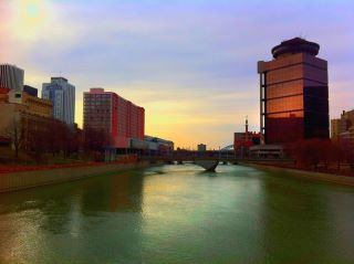 Taken from the Andrews Street bridge, looking south along the Genesee River in downtown Rochester, NY.