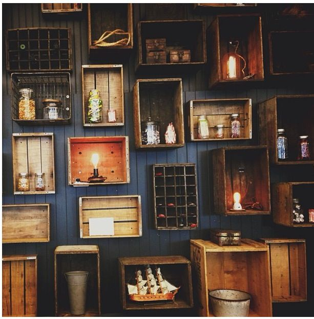 Vintage wood boxes on wall condo design pinterest