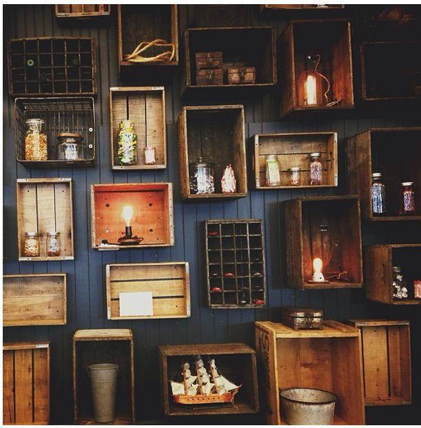 Vintage wood boxes on wall condo design pinterest Decoracion de bares vintage
