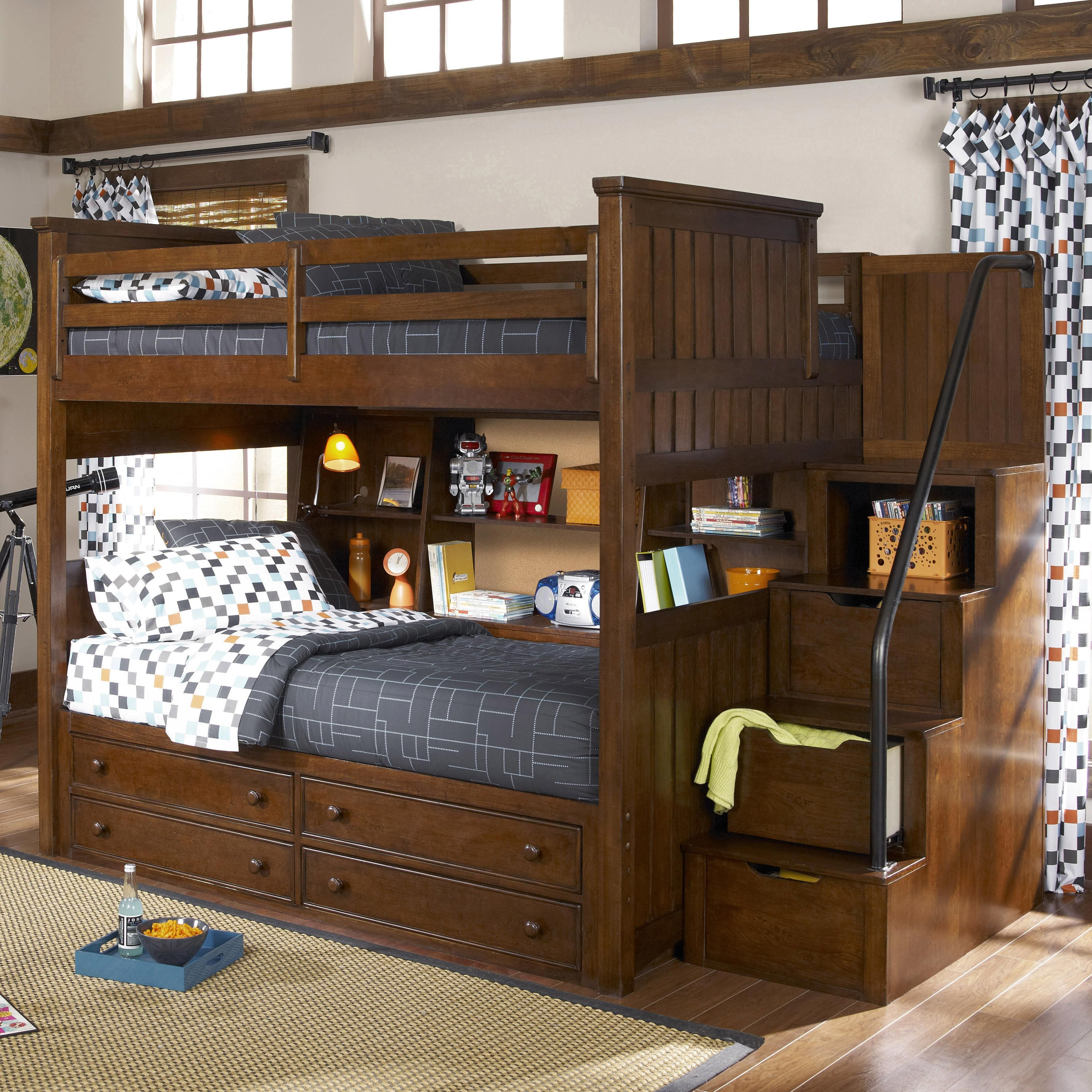 Dawson S Ridge Full Over Twin Bookcase Bunk With Stairs By Legacy Classic Kids Bunk Beds Stairway Bunk Beds Loft Bed Bunk bed full over full with stairs