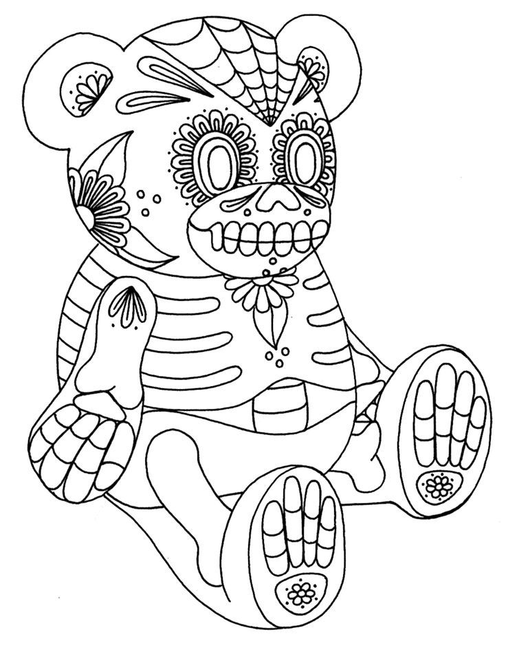 Free Printable Day of the Dead Coloring Pages Teddy bear, Bears - fresh day of the dead mandala coloring pages