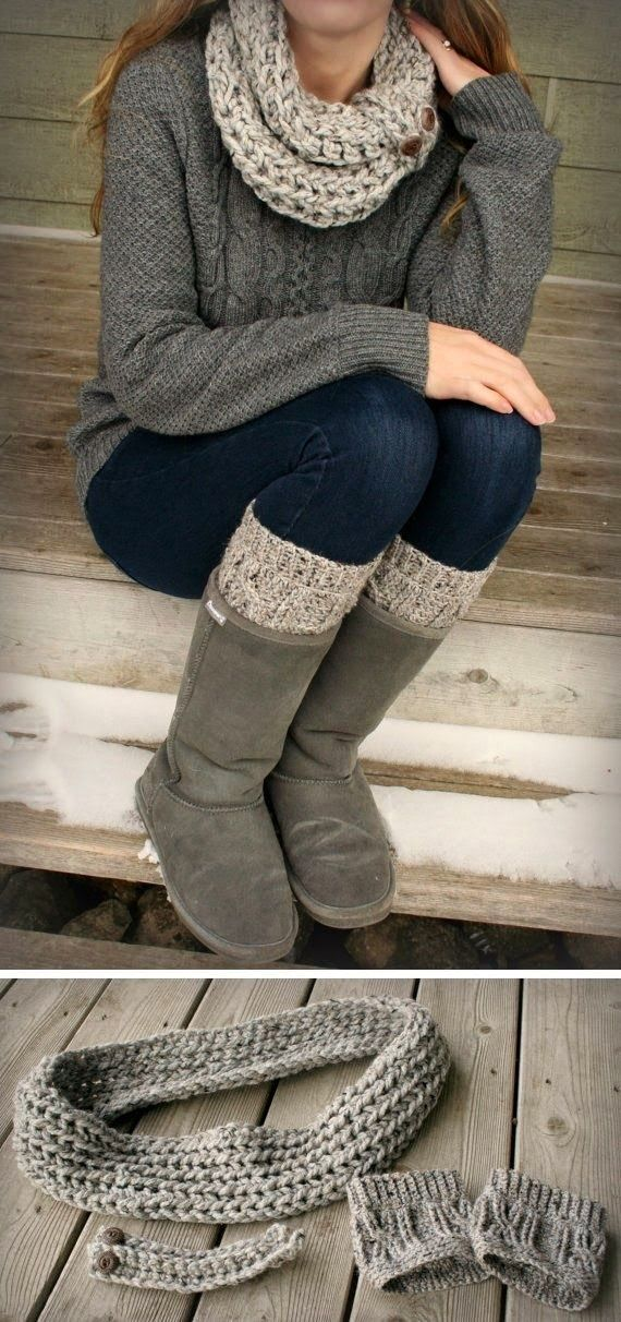 The Vogue Fashion: Cozy Knit Sweater With Ugg Boots and Crochet Scarf.
