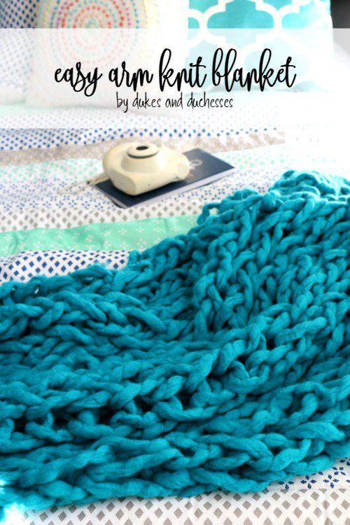 easy arm knit blanket #ad