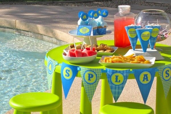 Pool Party Ideas Kids image of beach themed pool party Blue And Green Summer Decor Perfect For A Relaxed Pool Party Vibe