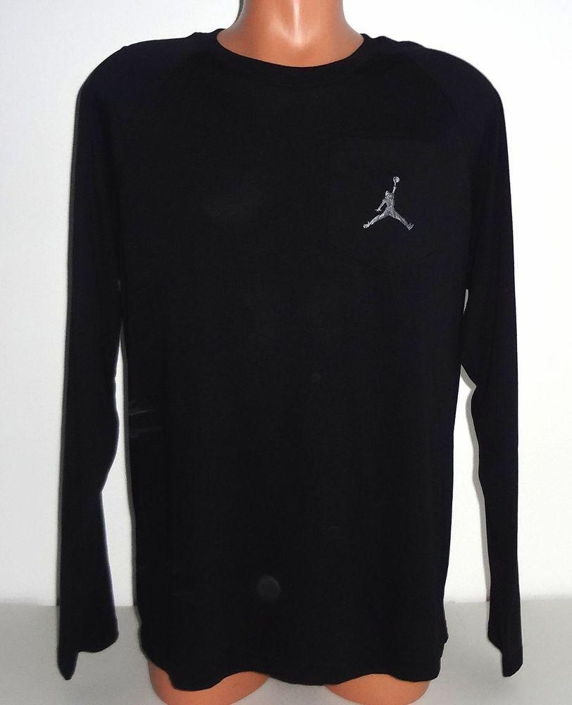 d25d578bcd2202 Men s Nike Jordan Long Sleeve Shirt Size Medium Black Emroidered Jumpman  NWT  50  Nike  ShirtsTops