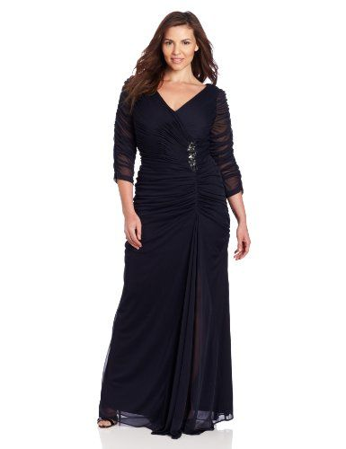 Adrianna Papell Women\'s Plus-Size Drape Covered Gown, Ink, 14W ...