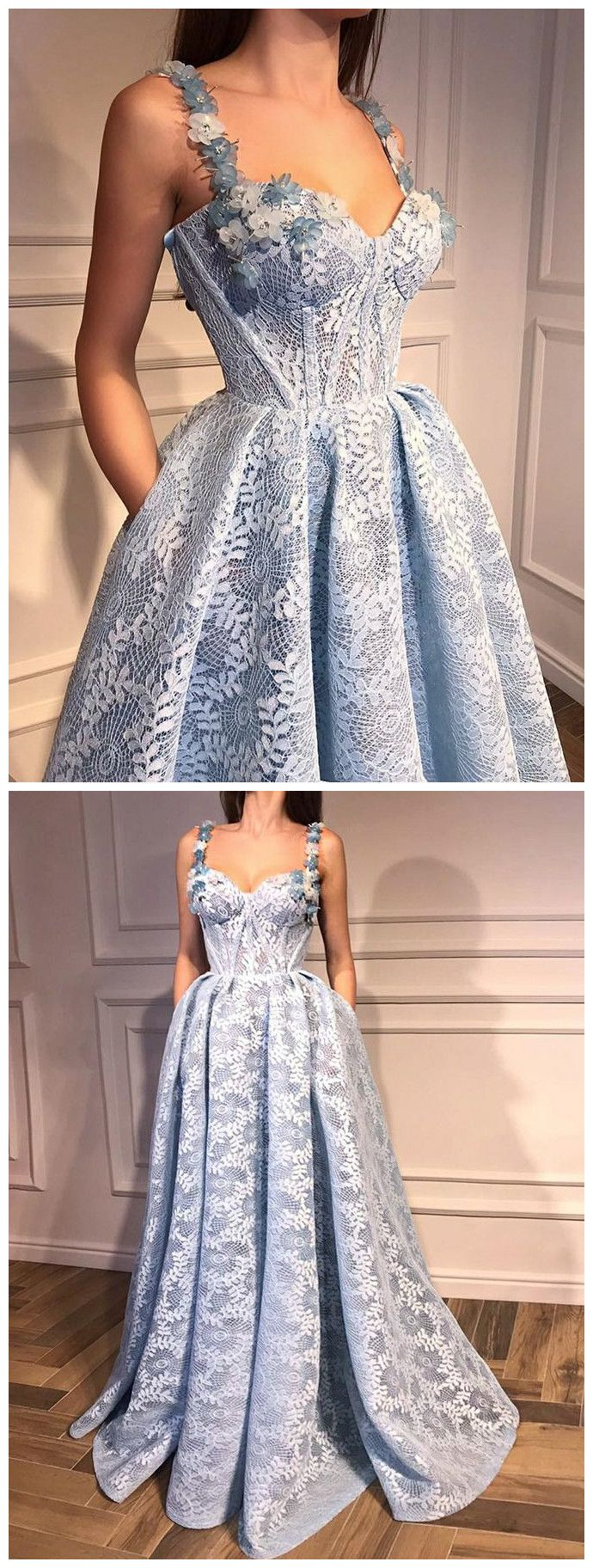 Aline straps blue prom dress floor length with lace prom dresses