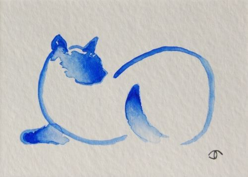 Available on ebay: abstract blue siamese cat ACEO mini original watercolor painting trading card (Artist: Jennifer Thangavelu / Limninescence Fine Art)