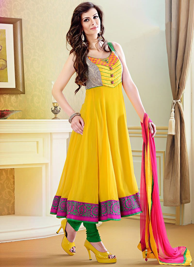 Neon Trendss Designer Readymade Suits Sunny Yellow and Pink ...