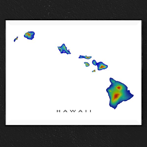 Hawaii Map Print Hawaiian Islands Usa Rainbow Map Print Map Wall Art Map Art Print